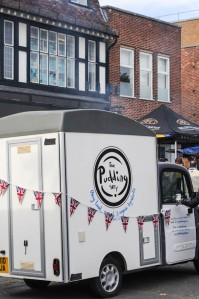 Johnny's 'pudmobile' from which he sells his puddings