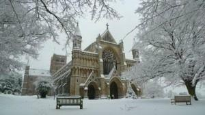 St Albans Abbey in the snow thiis January, courtesy of EKProcure