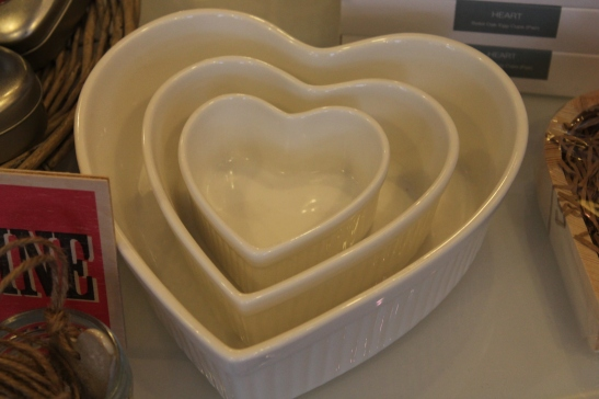 Heart shaped oven dishes, each sold separately. Prices vary depending on size, start from £4.00.